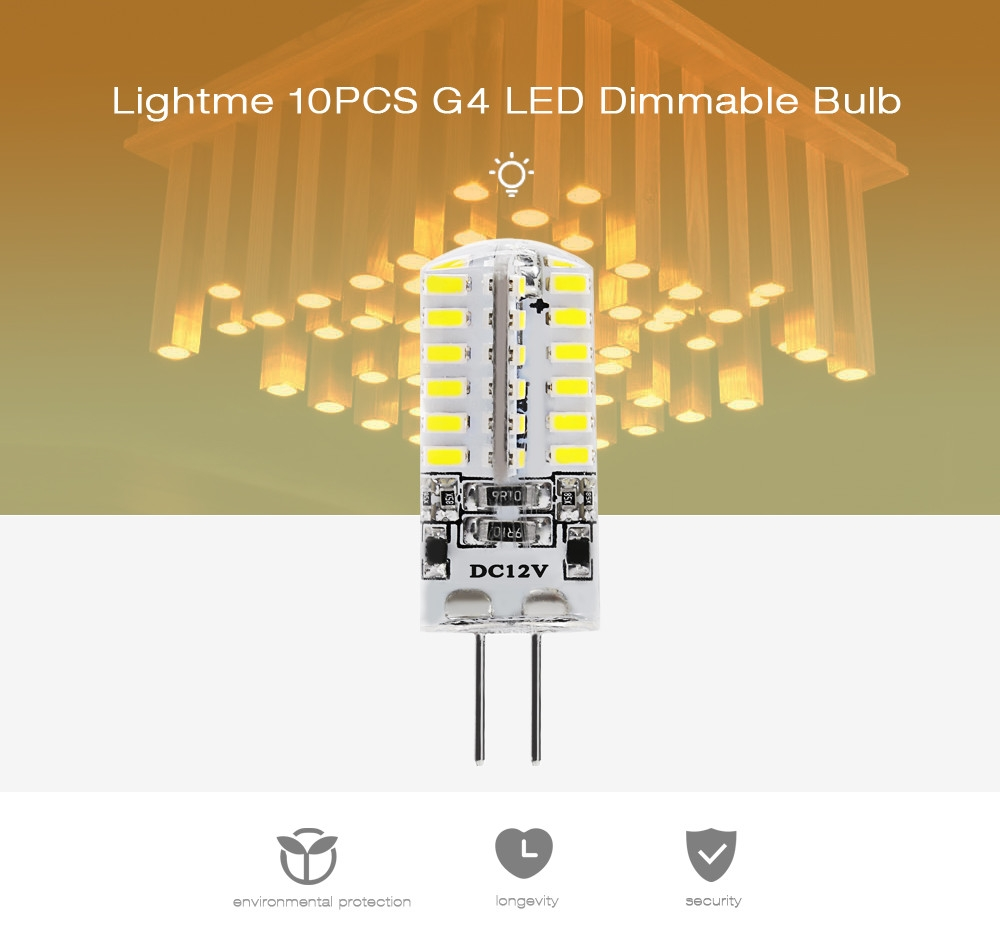 Lightme 10PCS Energy-saving G4 DC12V 2.5W SMD 3014 LED Dimmable Bulb with 48 LEDs