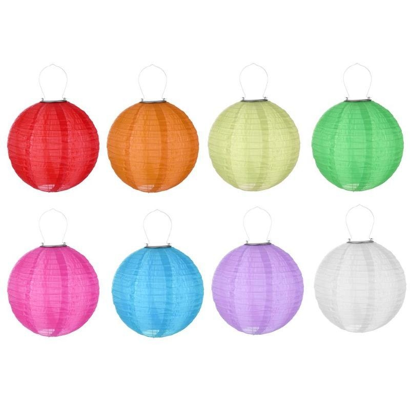 12in Led Solar Cloth Chinese Lantern Outdoors Festival Wedding Party Garden Hanging Lamp Light Decor Specifications Material Protection Grade Ip55