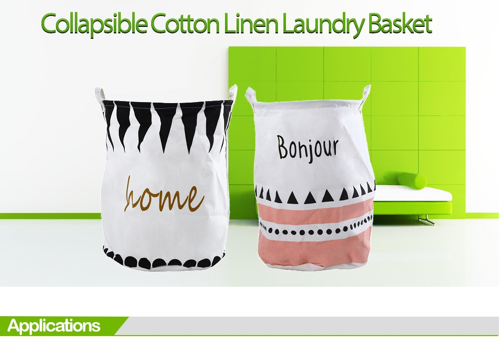 Cotton Linen Collapsible Laundry Basket Dirty Clothes Storage Hamper