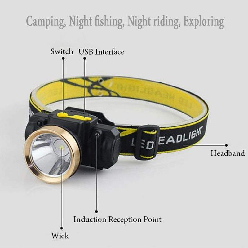 Led Headlamp Rechargeable Generic Mini Sensor Motion Light Usb Head 5ARL34j