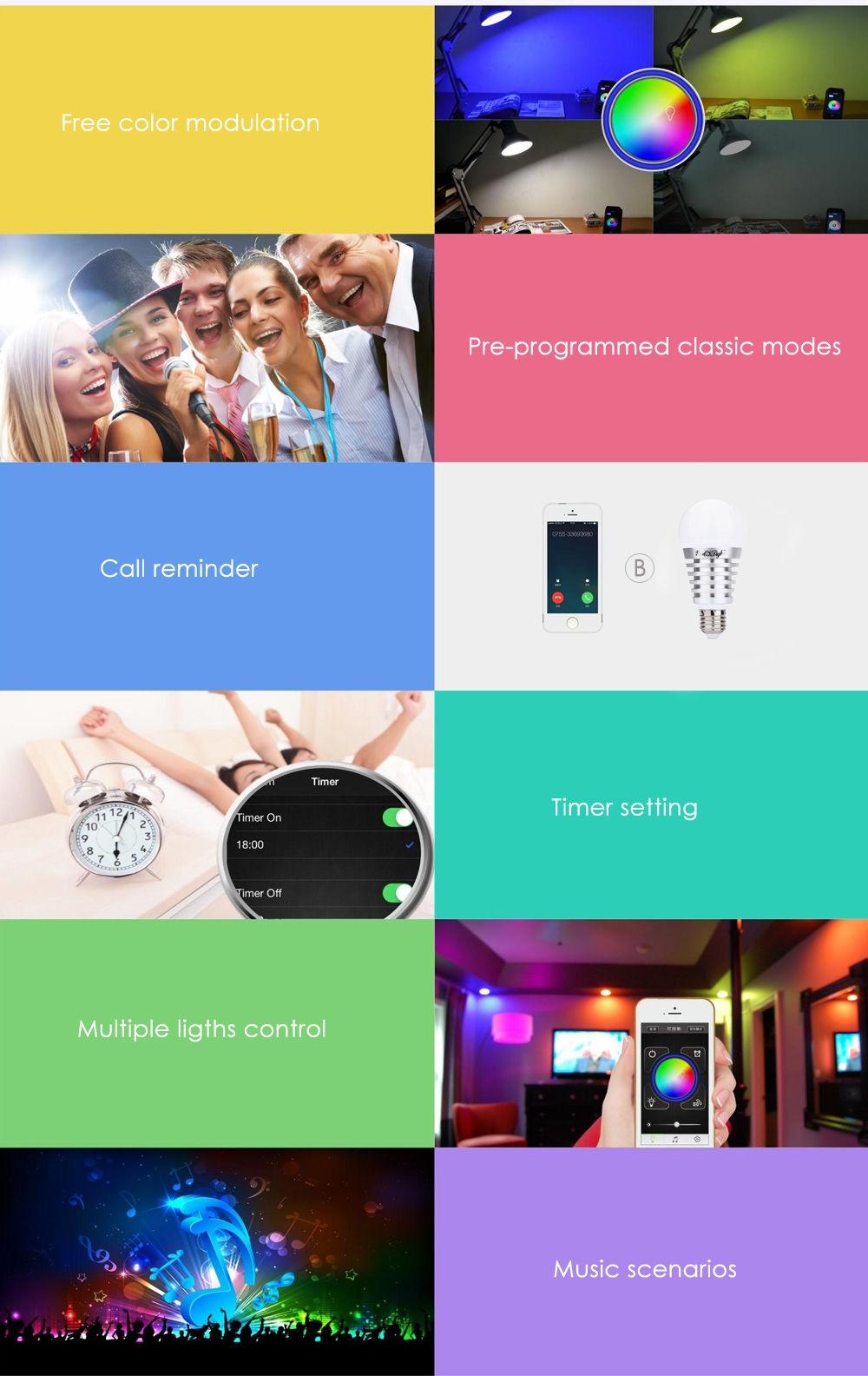 YouOKLight AC 100 - 240V E27 7.5W Bluetooth 4.0 Smart LED Bulb Light