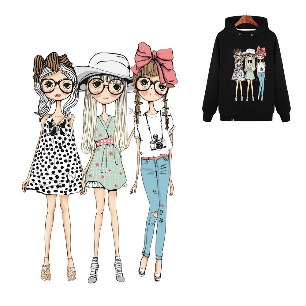 Generic lovely girls on patch heat transfer sticker applique diy clothing t shirt decor