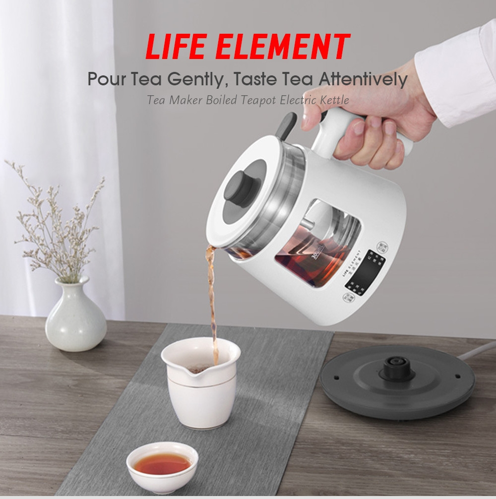 LIFE ELEMENT i19 Tea Maker Boiled Teapot Automatic Steam Glass Mini Electric Kettle