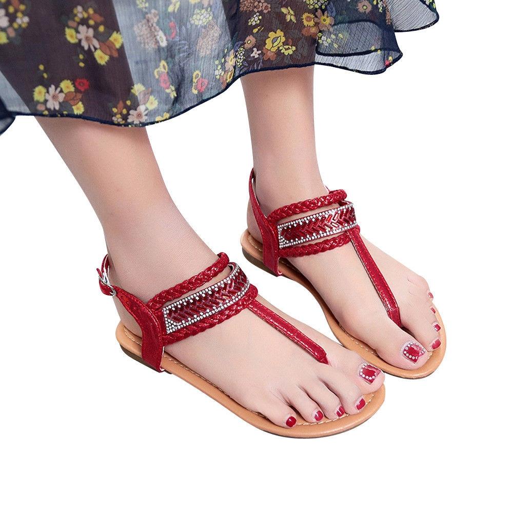 f8a64933f676e Generic Summer Pinch Casual Bohemian Diamond Sandal Women Gladiator Sandals  Roman Flats