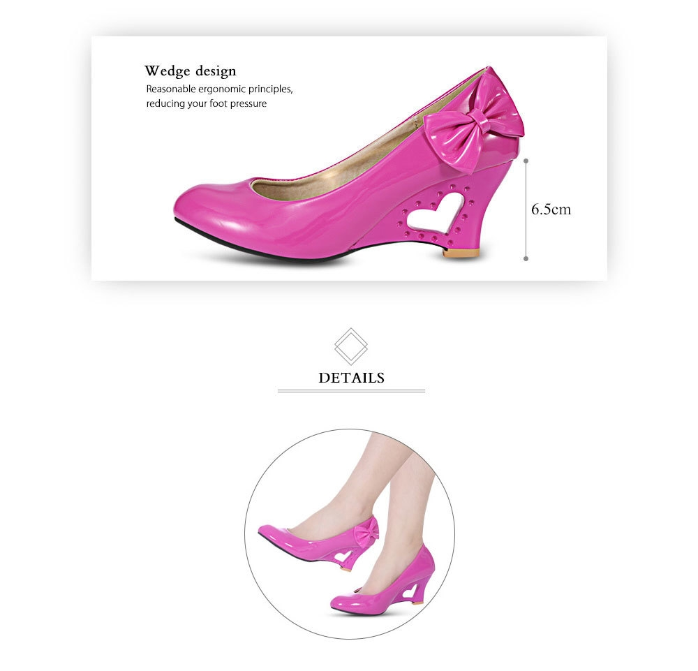 Fashionable Bowknot Hollow Out Heart Wedge Shoes for Women