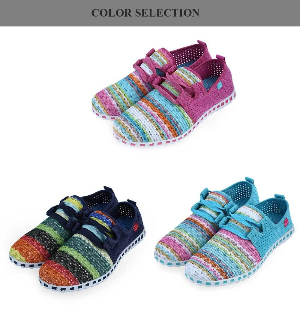 Casual Colorful Hollow Out Lace Up Women Flat Shoes
