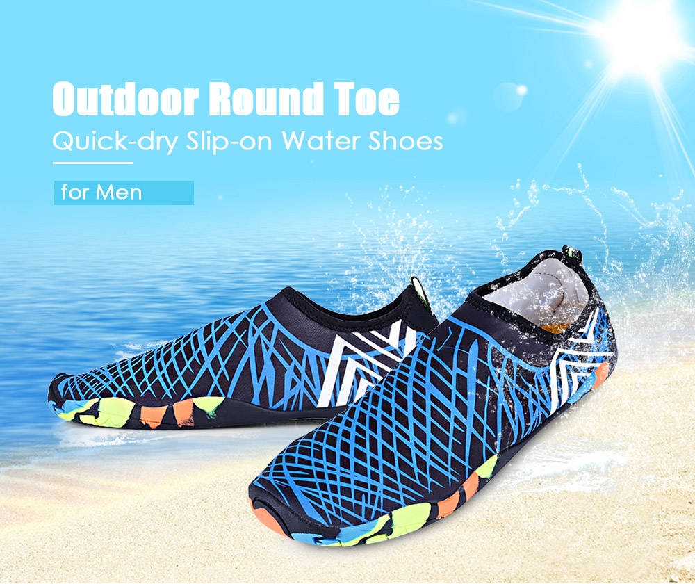 Outdoor Round Toe Quick-dry Breathable Flat Heel Slip-on Men Water Shoes