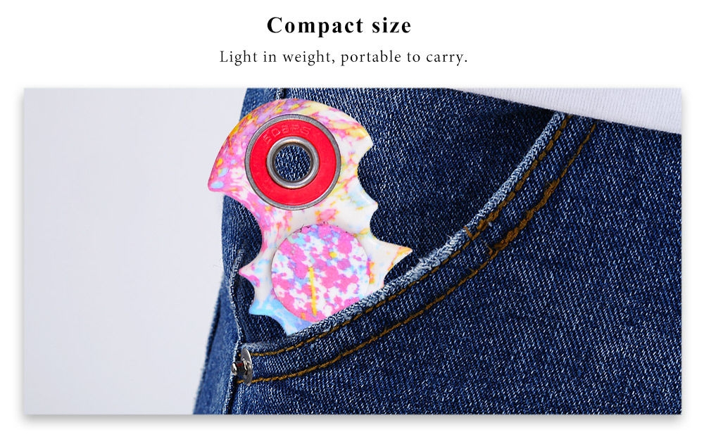 Watercolour Bat Pattern ABS Hand Spinner Metal Bearings Finger Toy Stress Reliever Anxiety Reducer