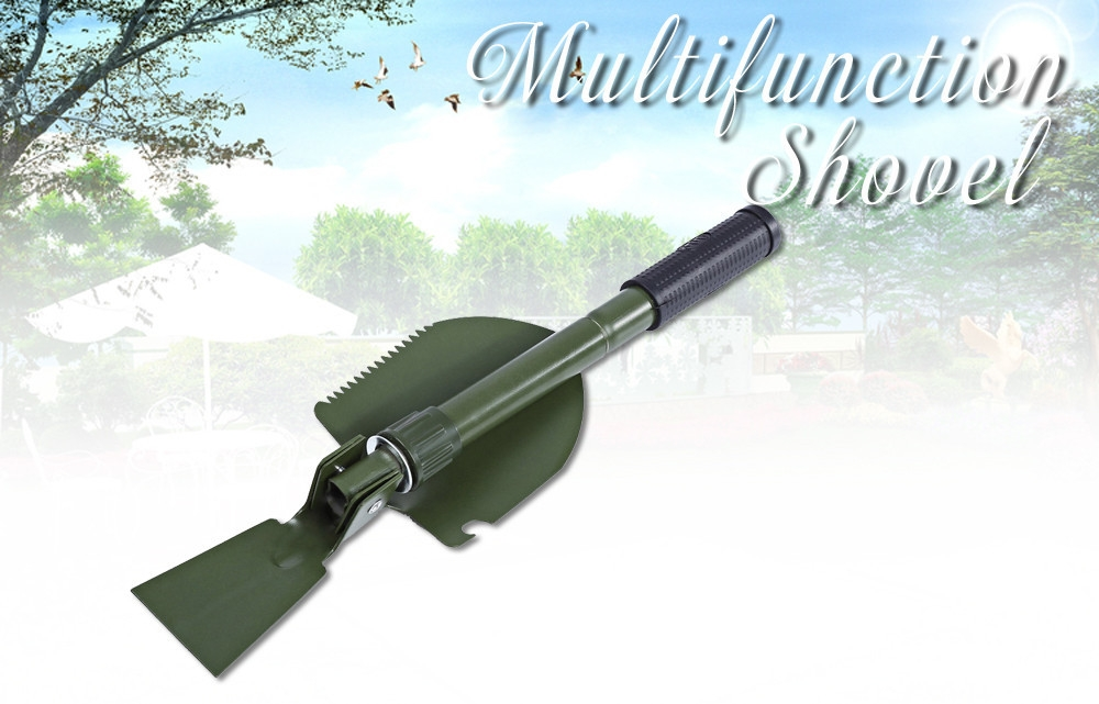 CLEYE Multi-function Military Portable Trowel Diddle Spade Shovel with Carrying Pouch