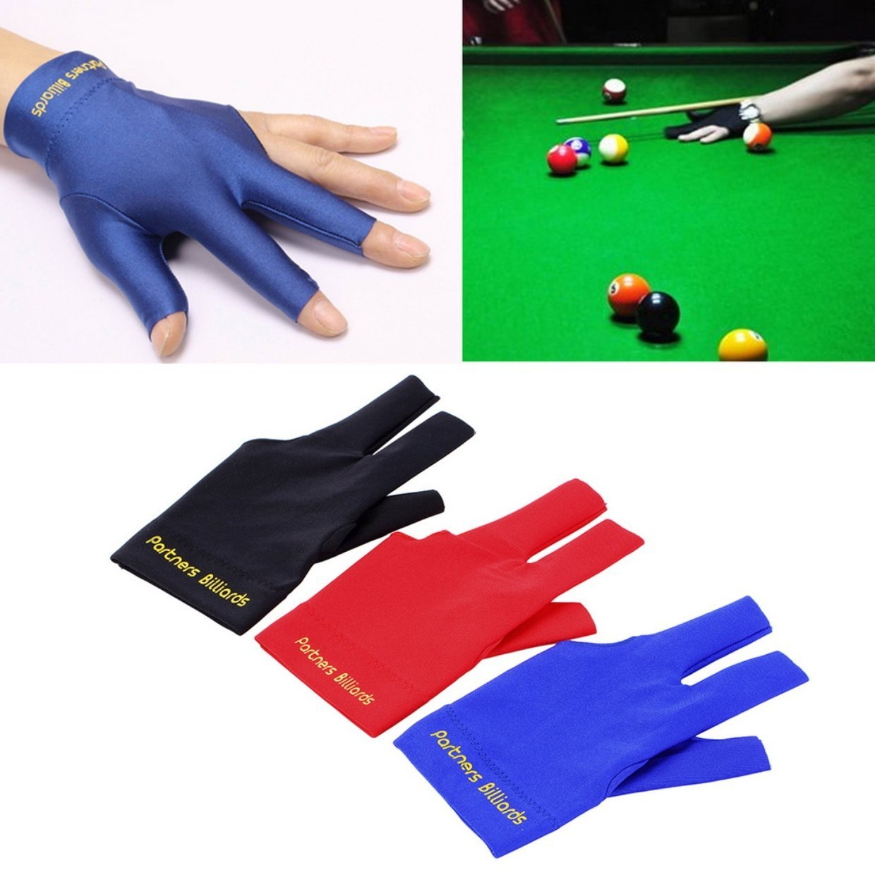 Billiards Other Billiards Accessories & Décor grey Spandex Snooker Billiard Glove Pool Left Hand Open Three Finger HP