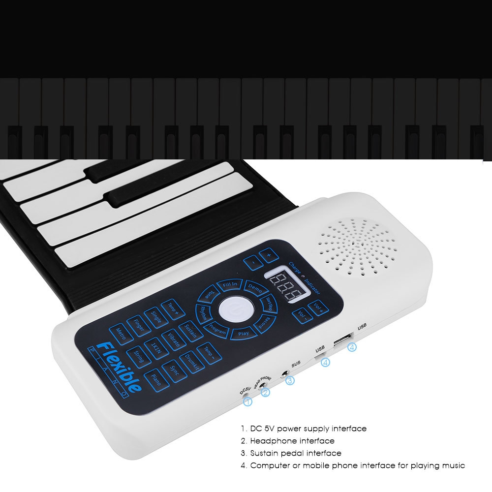 Portable Silicone 88 Keys Hand Roll Up Piano with MIDI Electronic Keyboard