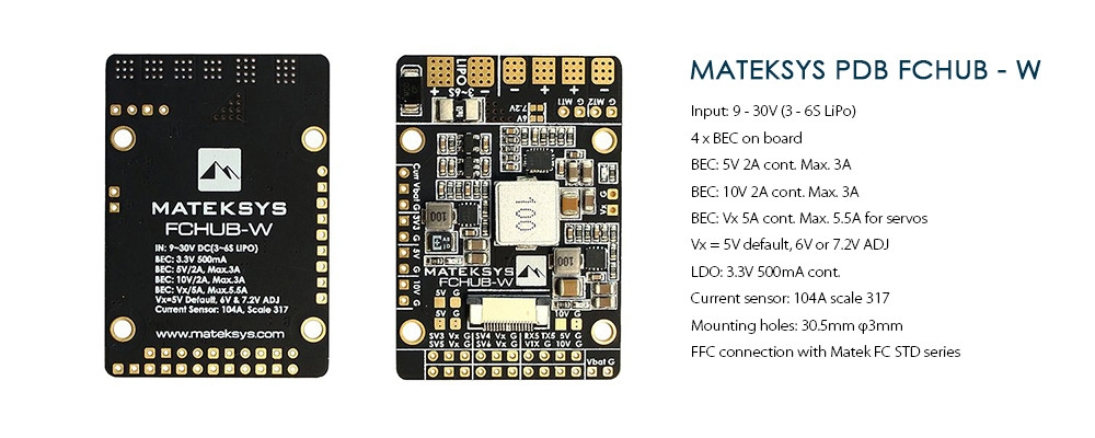 Matek Systems FCHUB - W PDB 3 - 6S Built-in 4 BEC 104A Current Sensor for RC FPV Racing Drone