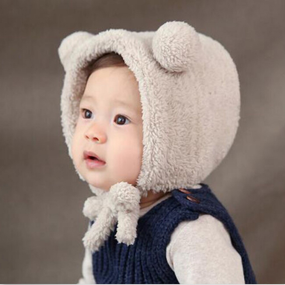 184d10d2b4a Fashion jiuhap store Baby Toddler Girls Boys Warm Hat Winter Beanie Hat  Cute Bear Ear Plush Cap BG-Beige