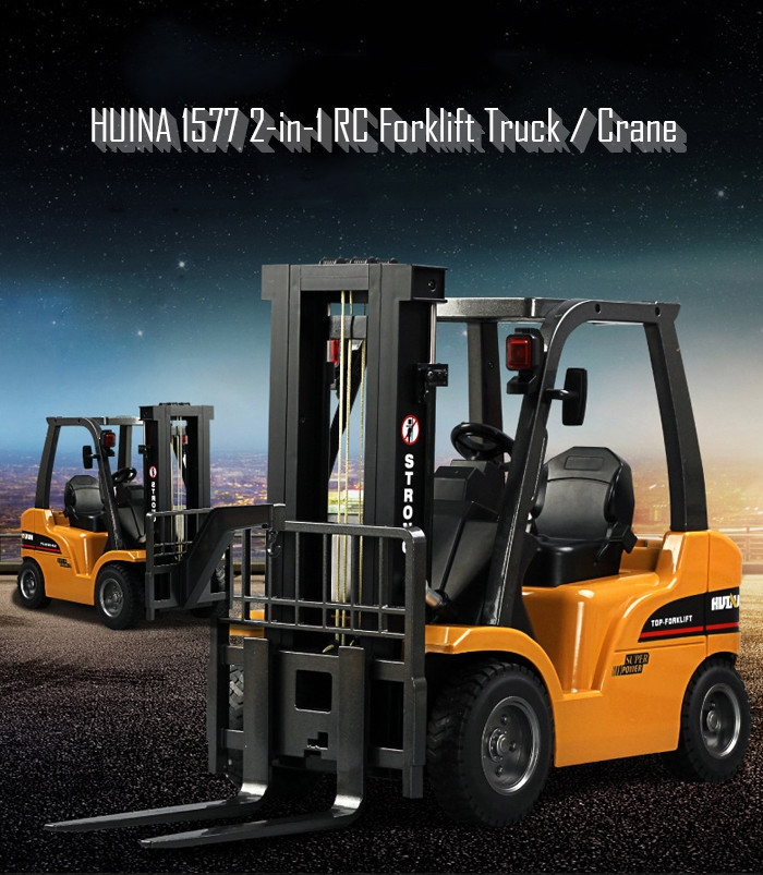 HUINA 1577 2-in-1 RC Forklift Truck / Crane RTR 2.4GHz 8CH / 360 Degree Rotation / Auto Demonstration / LED Light