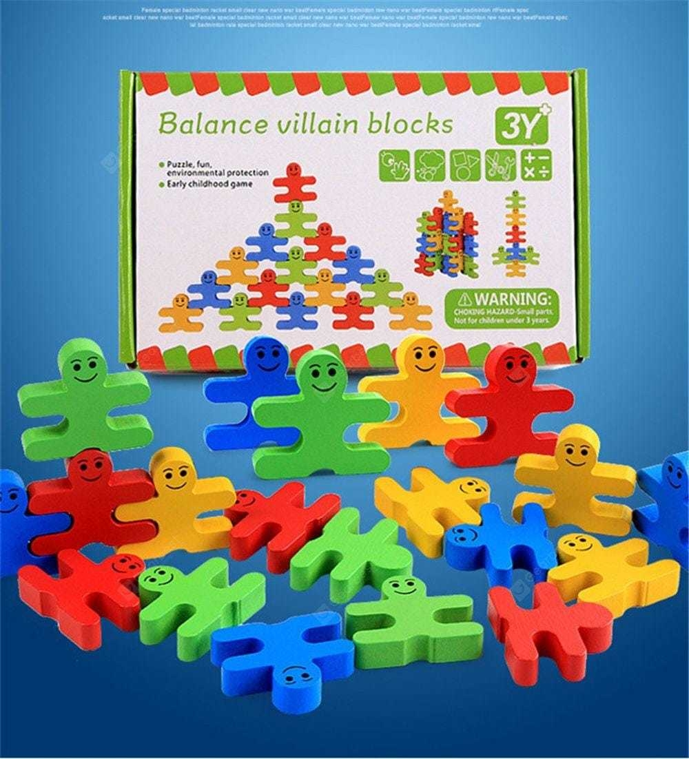Wooden Colorful Balance Villain Blocks Set Cartoon Puzzle Stacking Building Balance Game Gift 16PCS- colour
