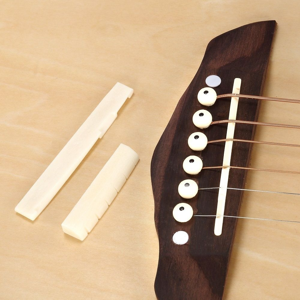 6 String Acoustic Guitar Bone Bridge Saddle Nut