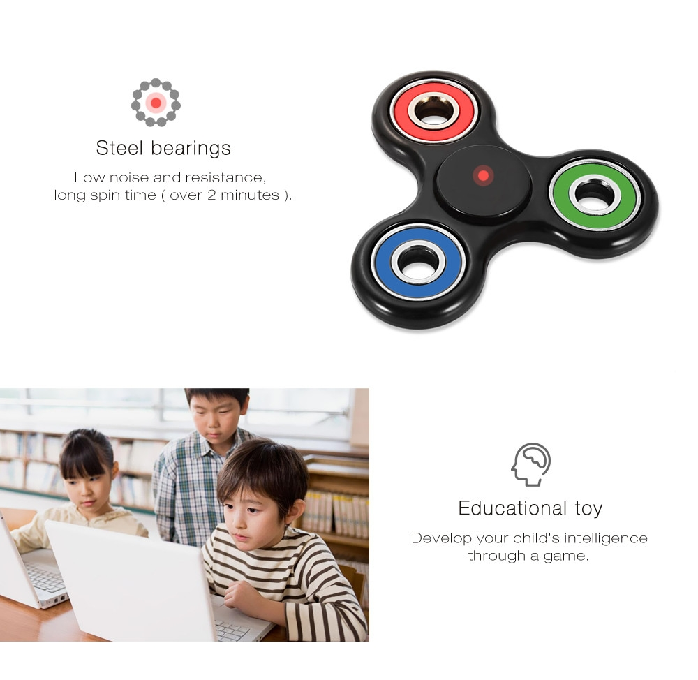 Colorful Trilateral Pattern ABS Hand Spinner Steel Bearings Finger Toy Stress Reliever Anxiety Reducer