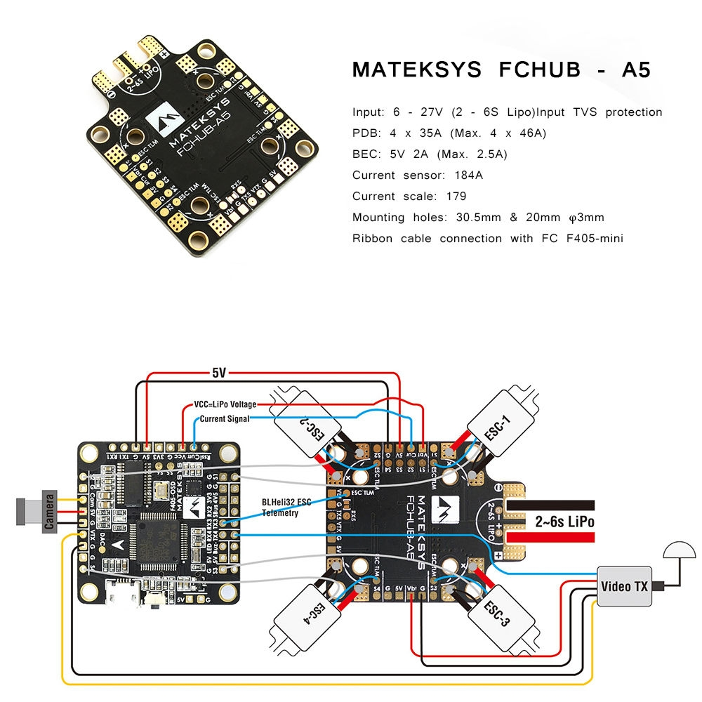 Matek Systems FCHUB - A5 PDB Built-in 184A Current Sensor 5V 2A BEC 2 - 6S for RC Drone FPV Racing Multi Rotor