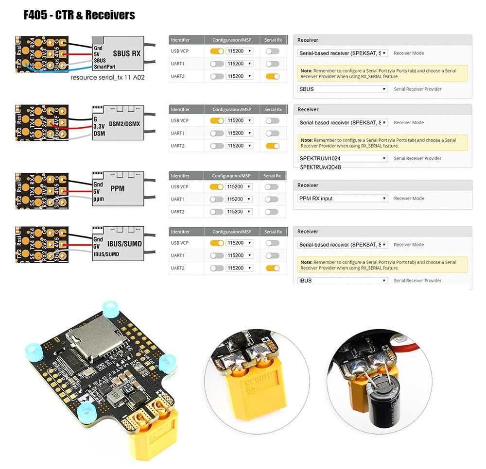 Matek Systems BetaFlight F405 - CTR Flight Controller Built-in PDB OSD 5V/2A BEC Current Sensor for RC Drone