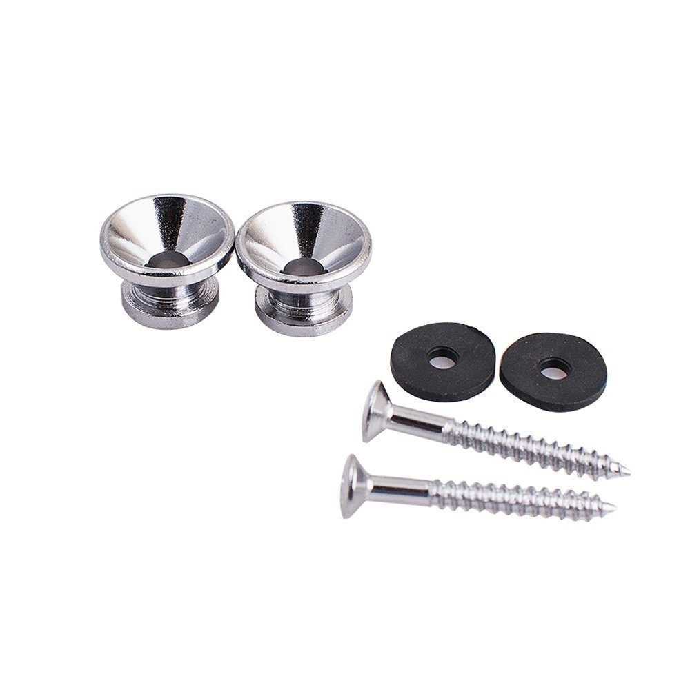 Metal Strap Lock Buttons End Pins with Mounting Screws For Electric Acoustic Guitar 2pcs