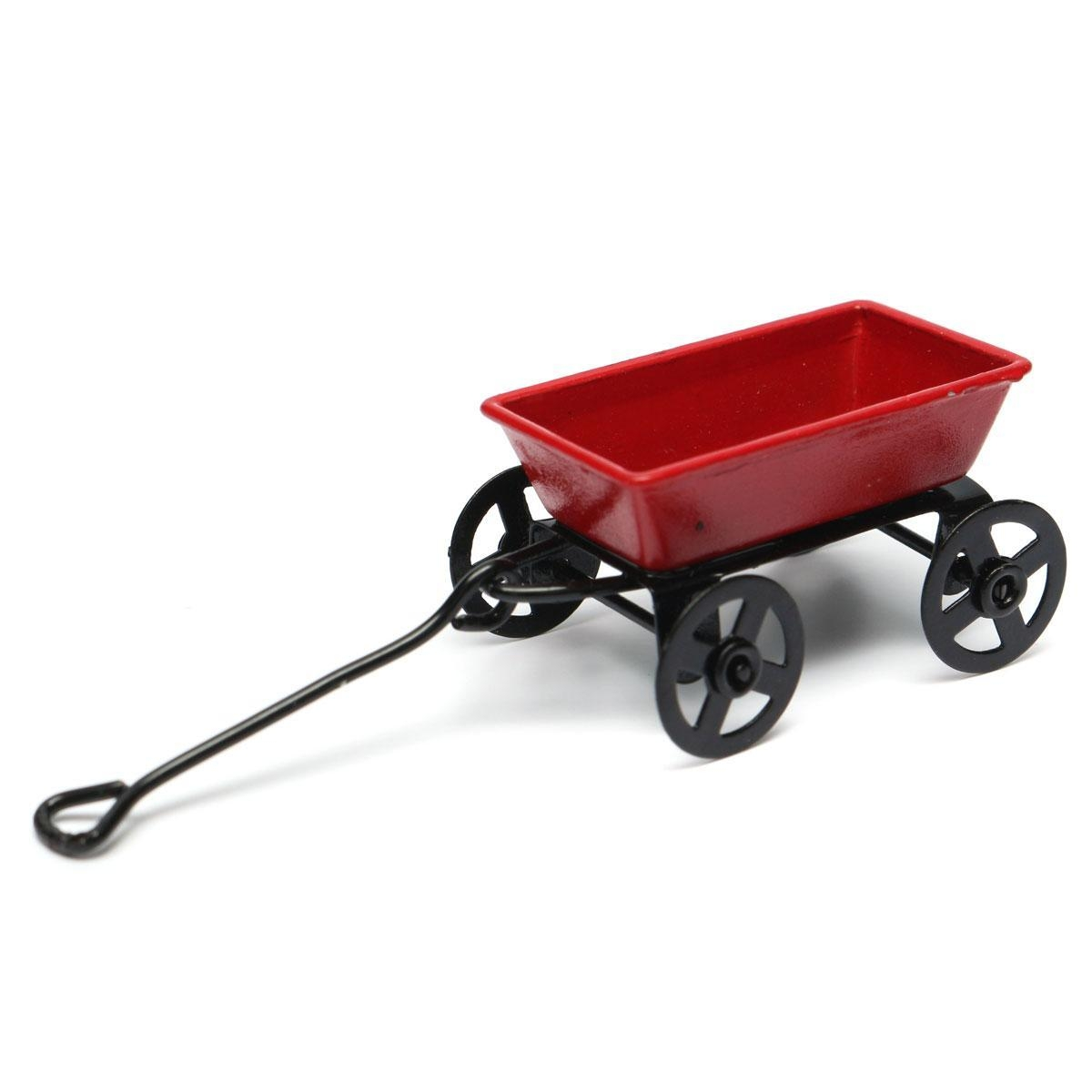 Generic Dollhouse Miniature Metal Red Pull Cart With Wheels