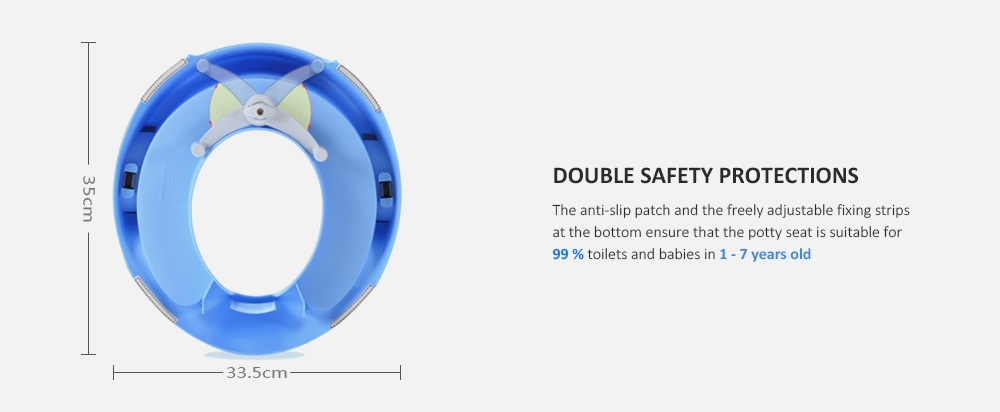 Baby Toilet Seat Kids Potty Training Tool with Cushion Handle for Round / Oval Toilets