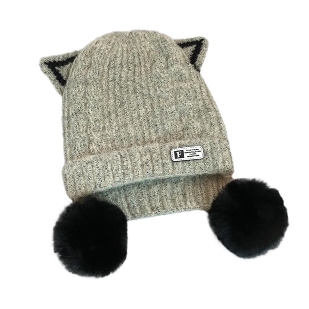 1X Cute Baby Kids Girl Boy Dual Balls Warm Winter Knitted Cap Hat Beanie(NO 1f94bd820bc5