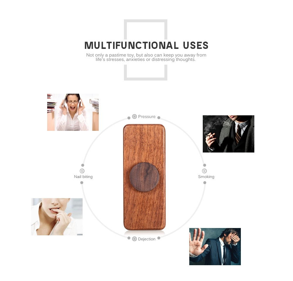 DIY Square Walnut Hand Spinner Steel Bearings Finger Toy Stress Reliever Anxiety Reducer