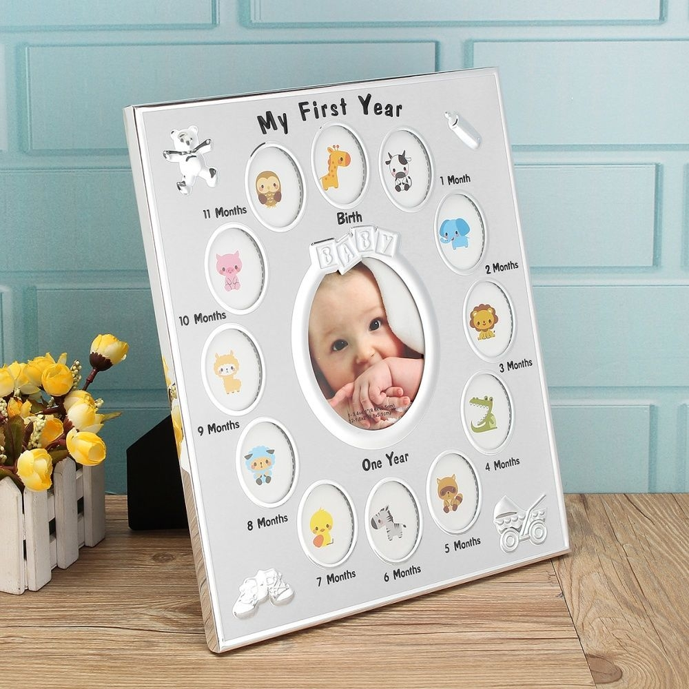 Buy Generic First Year Baby Photo Frame Silver Plated 12 Months ...