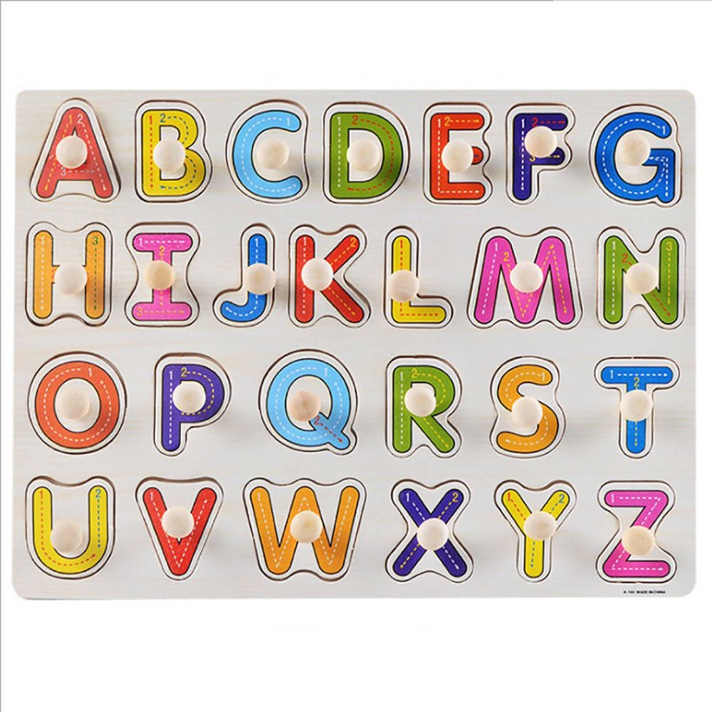 0eaa85bc9e3f Generic Kid Early Educational Toys Baby Hand Grasp Wooden Puzzle Toy  Alphabet