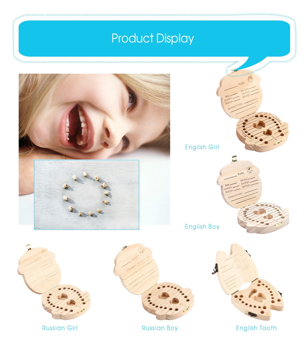 Creative Wooden Baby Tooth Organizer Box for Deciduous Teeth Umbilical Cord Lanugo
