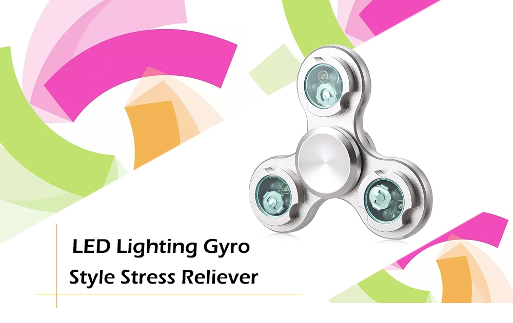 Three-wheel LED Light Gyro Stress Reliever Pressure Reducing Toy for Office Worker