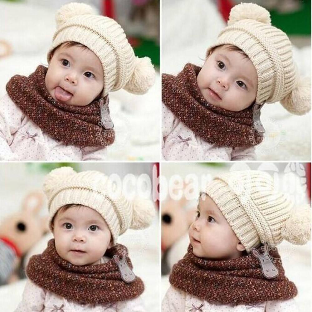 Cute Baby Kids Girl Boy Dual Balls Warm Winter Knitted Cap Hat Beanie 22900950bb8f