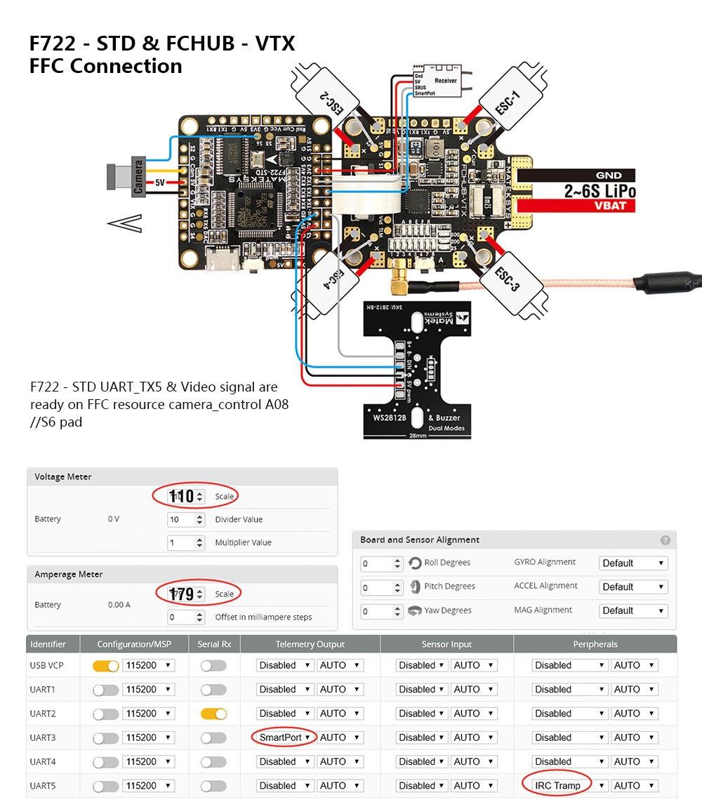 Matek Systems F722 - STD STM32F722 F7 Flight Controller Built-in OSD BMP280 Barometer Blackbox for RC Drone