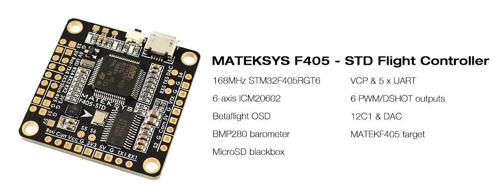 Matek Systems F405 - STD BetaFlight STM32F405 Flight Controller Built-in OSD Inverter for RC Multi-rotor FPV Racing Drone