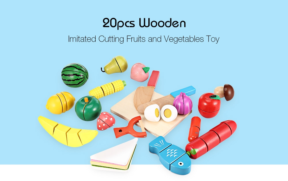 20pcs Wooden Cutting Fruits and Vegetables Toy