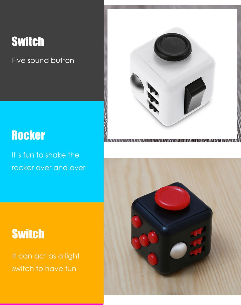 PIECE FUN Fidget Cube Style Stress Reliever Pressure Reducing Toy for Office Worker