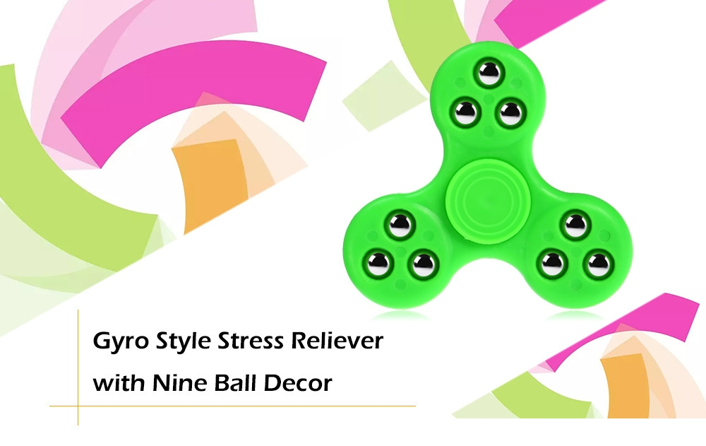 Gyro Stress Reliever Pressure Reducing Toy with Nine Bead Decor for Office Worker