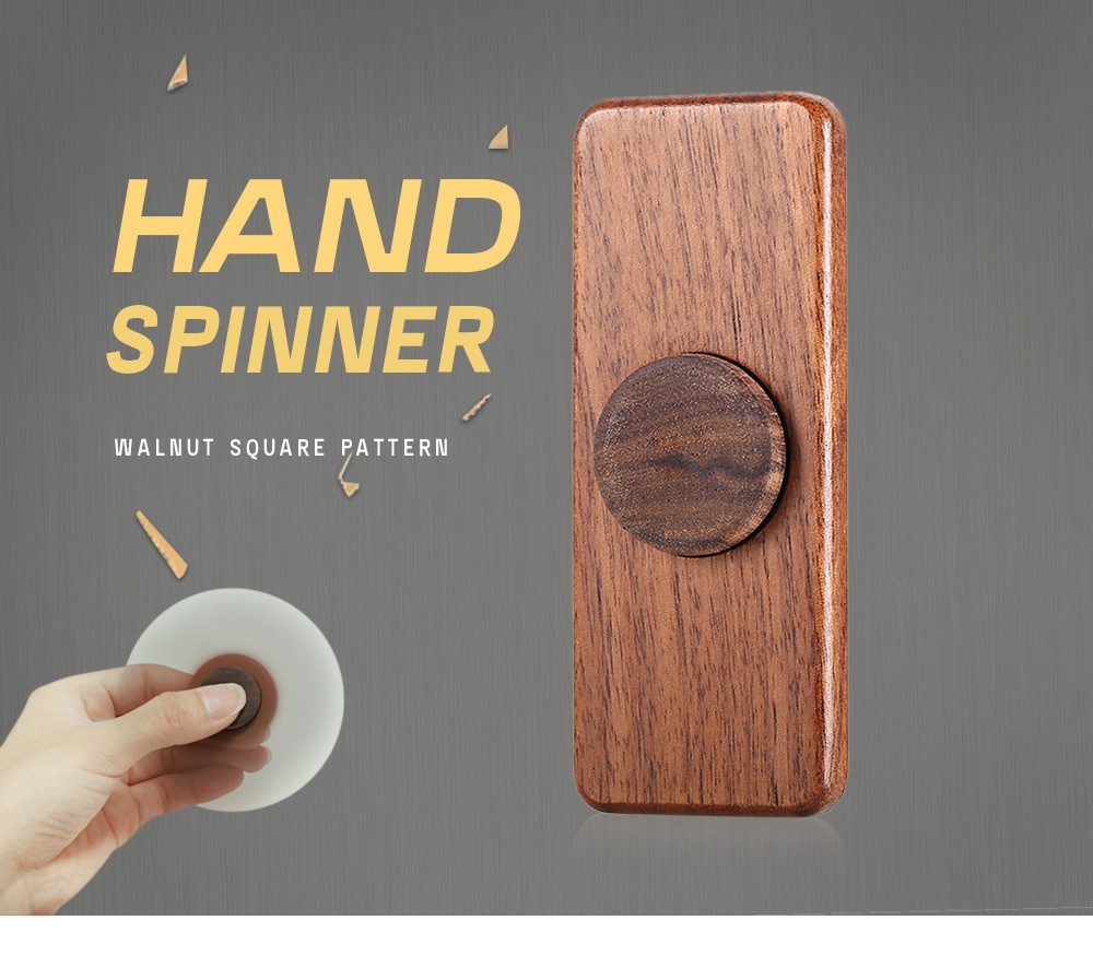 Square Walnut Hand Spinner Steel Bearings Finger Toy Stress Reliever Anxiety Reducer