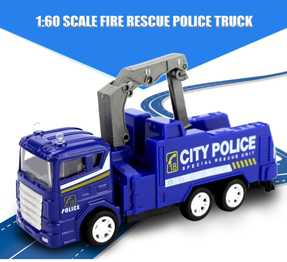generic fire rescue police truck kids alloy 1 60 scale simulation