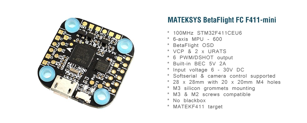 Matek Systems 20X20mm F411 Mini F4 Flight Controller AIO OSD BEC and LED Strip for RC Drone