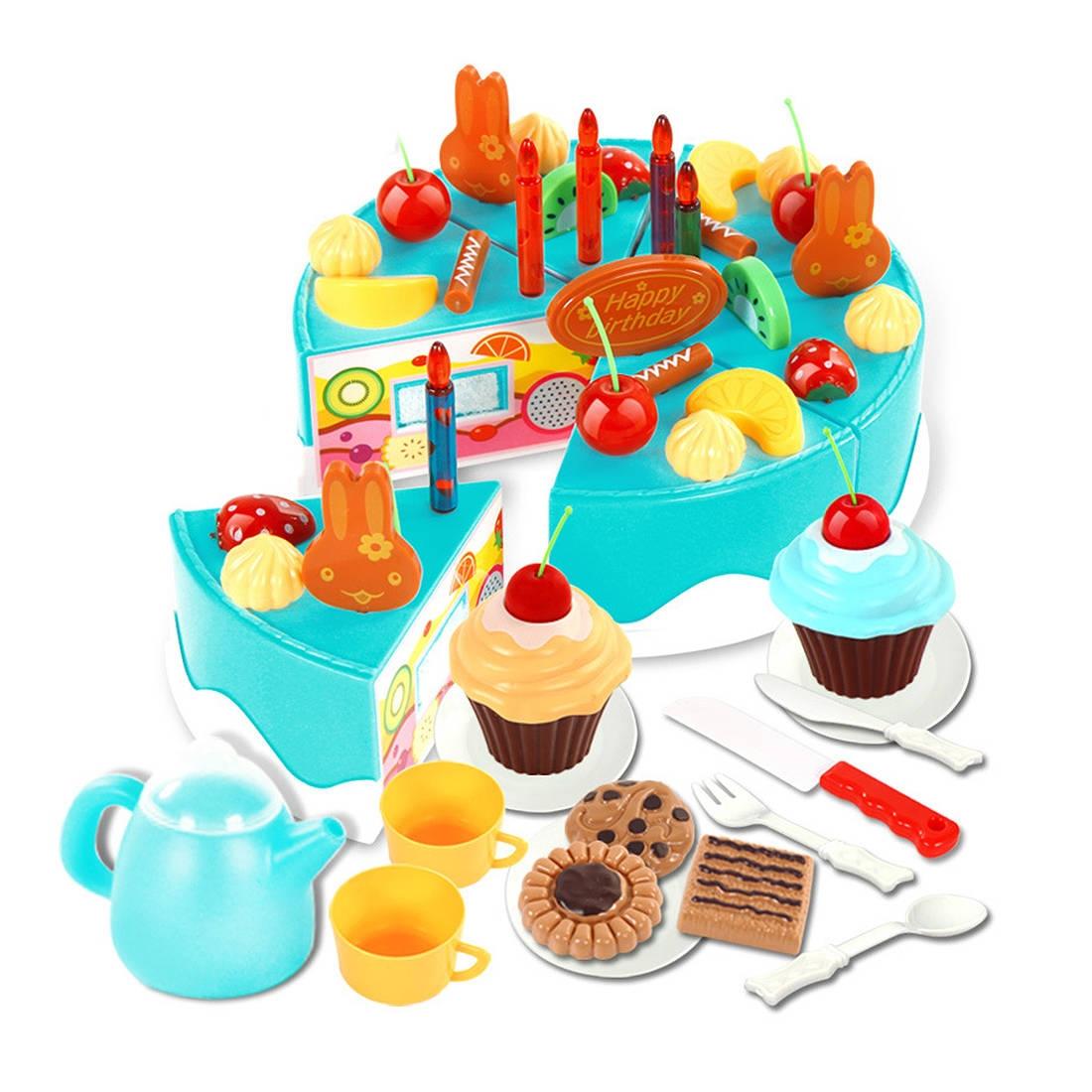 Buy Generic 54Pcs Plastic Kitchen Cutting Toy Birthday Cake Pretend ...