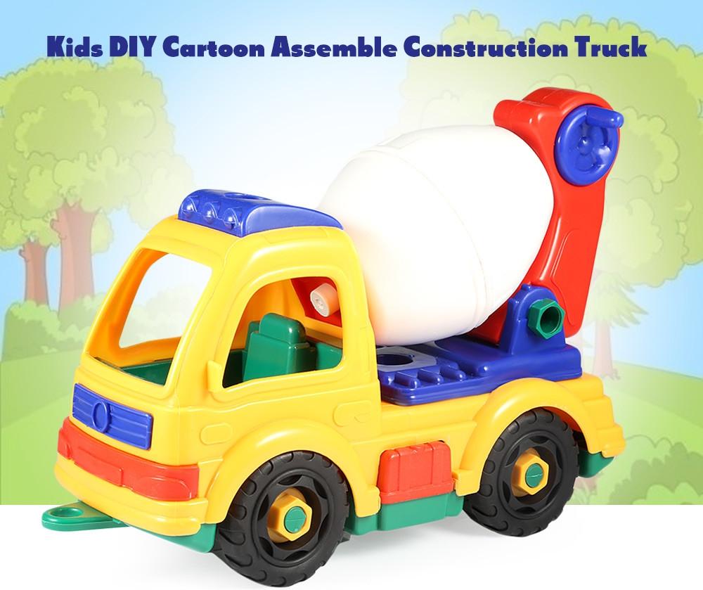 generic kids plastic diy cartoon construction truck vehicle with