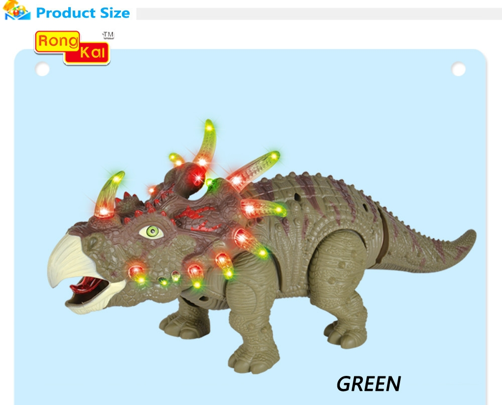 RongKai Realistic Electric Triceratops Model with Light Music Battery Operated Assemble Dinosaur Toy for Kids