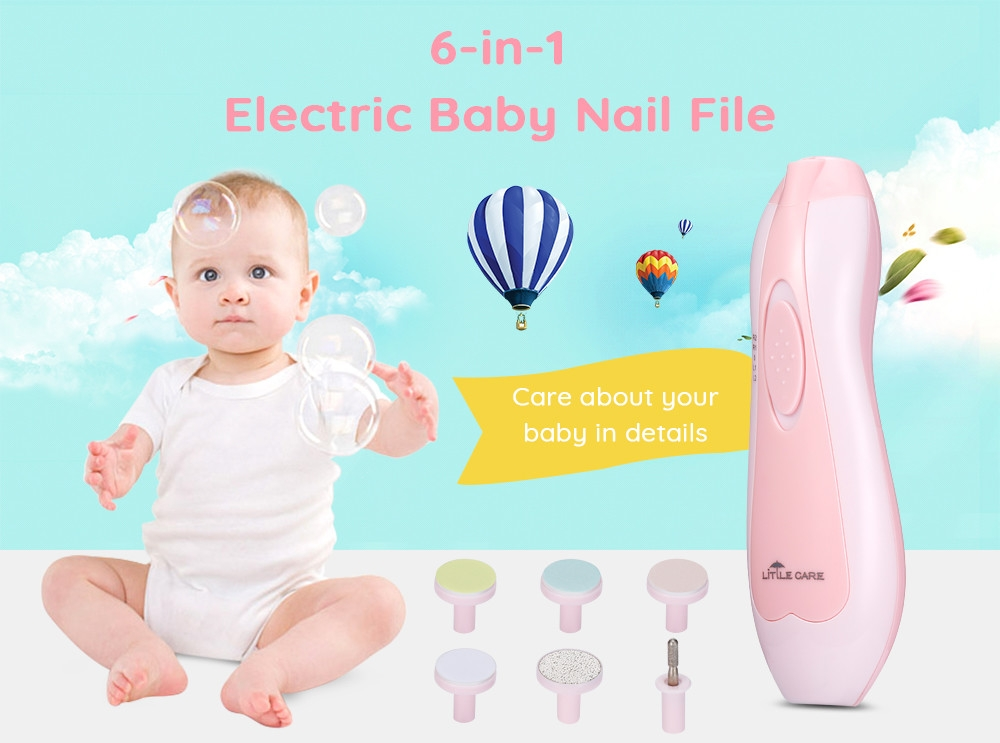 LETING 6-in-1 Baby Nail File for Toes and Fingernails Electric Manicure Set