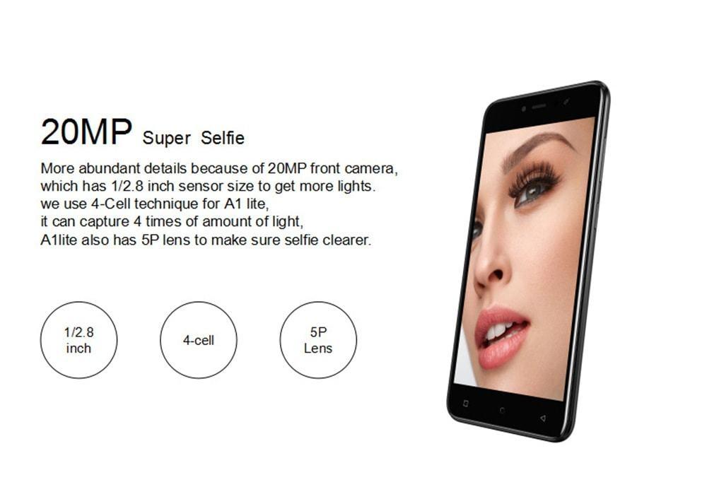 Gionee A1 lite 4G Smartphone 5.3 inch Android 7.0 MT6753 Octa Core 1.3GHz 3GB RAM 32GB ROM 20.0MP Front Camera Fingerprint Sensor 4000mAh Built-in- Gold