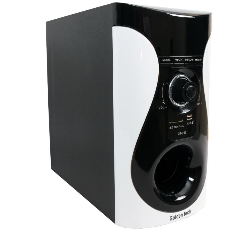 GoldenTech GT-210 Multimedia Speaker System 2.1 USB SD Card Reader Bluetooth and FM Radio Woofer black 10000w GT-210 3
