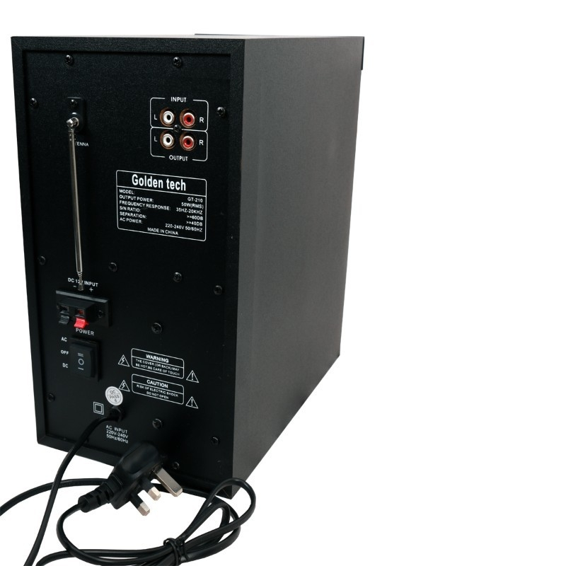 GoldenTech GT-210 Multimedia Speaker System 2.1 USB SD Card Reader Bluetooth and FM Radio Woofer black 10000w GT-210 5