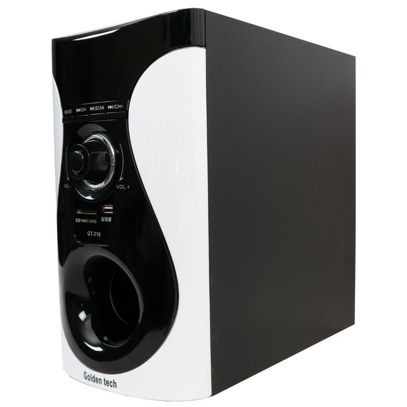 GoldenTech GT-210 Multimedia Speaker System 2.1 USB SD Card Reader Bluetooth and FM Radio Woofer black 10000w GT-210 4