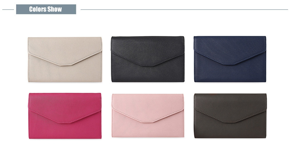 Trendy Pure Color PU Women Envelope Clutch